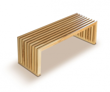 Modern wood seating bench made with American oak. Lenght 122 cm. Solid oak.