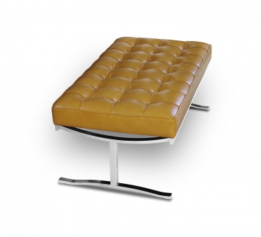 Bauhaus seating bench with polished steel legs and real italian tan leather, Handmade!
