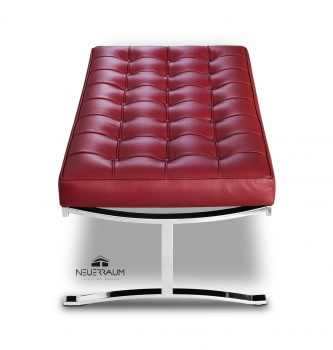 Bauhaus seating bench with polished steel legs and real italian wine red leather, Handmade!