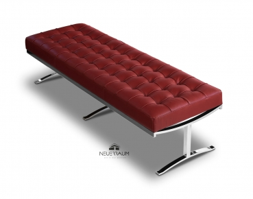 Red leather bench loft café restaurant on polished steel feet. Length 160 cm, seat height 42 cm.