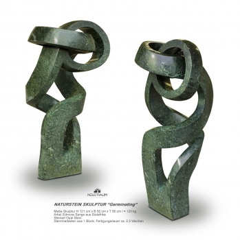 "Stunning abstract stone sculpture ""Bounding"" hand carved from one pieces of Opal stone. Height 121 cm. ≈ 120 kg."