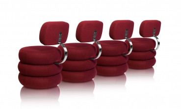 Stunning round dining lounge chair in dark red cashmere.