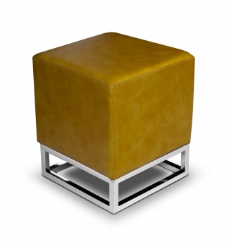 Leather cube stool footstool leather ottoman tan brown.