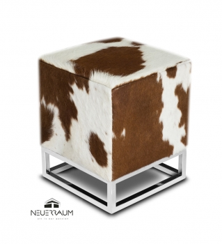 Cube cow skin fur ottoman footstool in brown white.