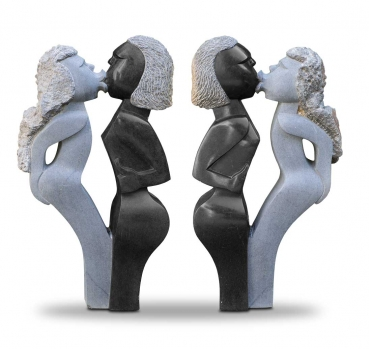 "Large handmade stone sculpture ""Deep Kiss"" made in Zimbabwe. Height 75 cm x 41 cm."