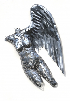 Angel wall sculpture one wing handmade in stainless steel. L140 x W 90 x D 20 cm.