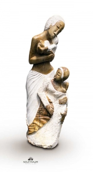 "Stunning family stone sculpture ""Take care"" made with white Opal stone in Zimbabwe. Height 96 cm. 80 kg."