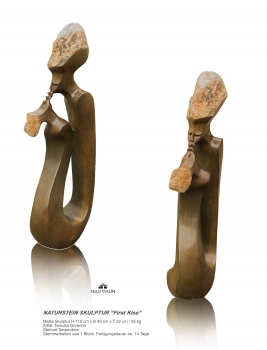 "Lovely abstract stone sculpture ""First Kiss"" hand carved from one pieces of Serpentinestone. Height 110 cm. 55 kg."