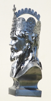 Charlemagne bust sculpture handmade in stainless steel.