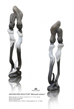 "Lovely stone sculpture ""mermaid sisters"" hand carved from one pieces of Serpentine stone. Height 120 cm. 30 kg."