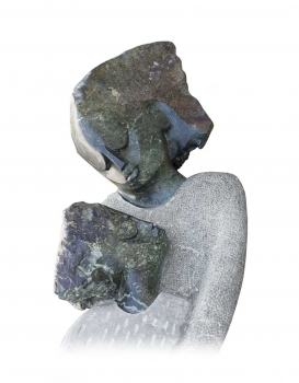 "Huge Garden stone sculpture ""Mother & Child"" handmade in Zimbabwe (H 220 cm, 500 kg, Opal stone)."