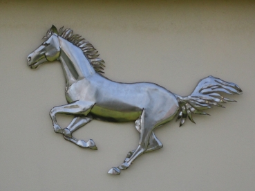 Mustang horse wall relief handmade in stainless steel. W 98 x H 78 x D 5 cm.