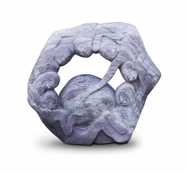 "Large Garden stone sculpture ""One World"" handmade in Zimbabwe (W 104 cm, 250 kg, Cobalt stone)."