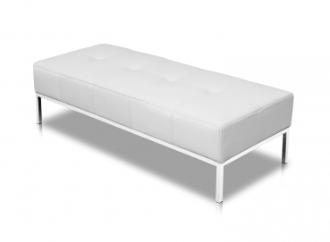Long leather bench for Loft Museum waiting area with polished steel legs. Illustration leather pure white.