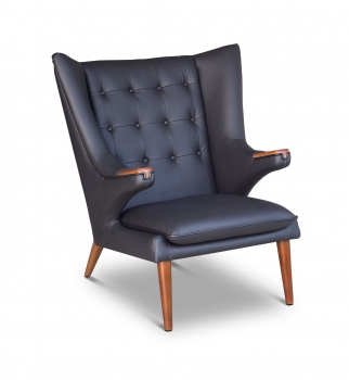 Leather armrest lounge wing chair in leather black with walnut wood.