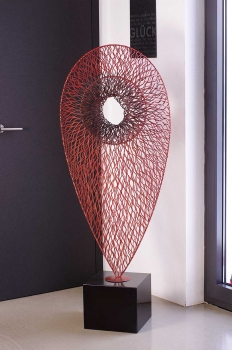 Amazing red steel sculpture with black marble base. Height 153 cm x 60 cm. Handmade.