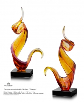 Large abstract sculpture yellow-red colored. Height 85 cm.
