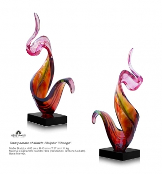 "Colorful transparent resin sculpture ""Change"" with abstractly style. Height 85 cm."