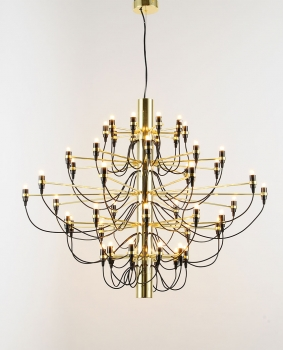 Huge Bauhaus chandelier gold plated with 50 lights. Height adjustable.