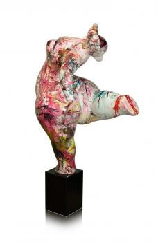 "Abstractly modern art sculpture ""Fat lady"" abstract painted on black marble base. Height 135 cm."