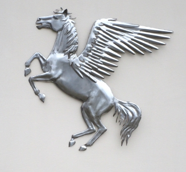 Pegasus wall relief handmade in stainless steel. W 105 x H 107 x D 5 cm.