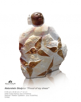 "Shona Art stone sculpture ""Proud of my dress"". Artist Esaul Karuru. H 55 cm x W 42 cm ~ 80 kg."