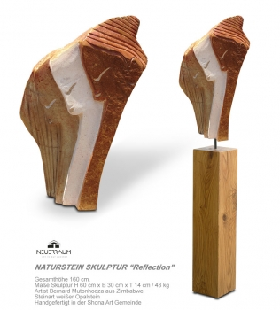 "Shona art stone sculpture ""Reflection"" based on an oiled german oak column. Total height 160 cm. White Opal Stone."