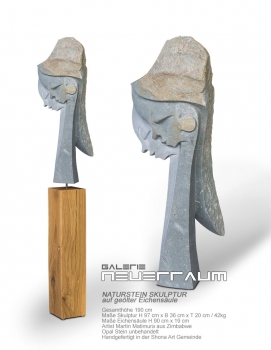Double head stone sculpture handmade in Opal Stone based on oiled german oak column. Total height 190 cm.