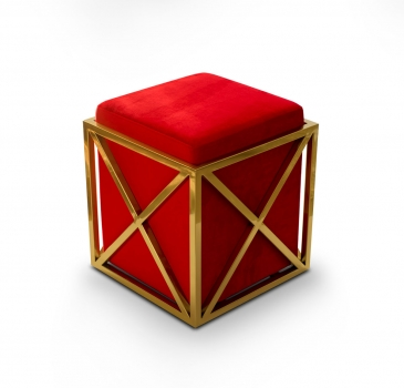 Luxury golden Cube ottoman with red velvet seat. 47 x 42 x 42 cm.