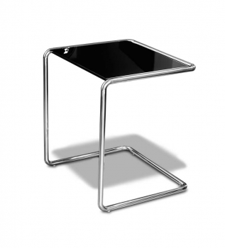 Large coffee side table with black tempered glas on top.