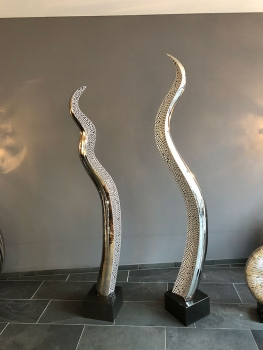 "Amazing stainless steel sculpture ""Snake"". Inlay silver painted. Height 196 cm."