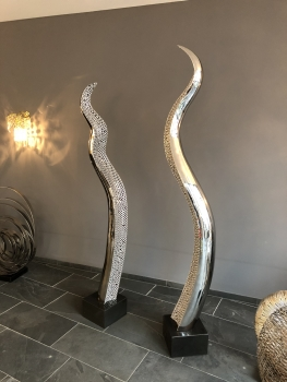 "Amazing stainless steel sculpture ""Snake"". Inlay silver painted. Height 178 cm."