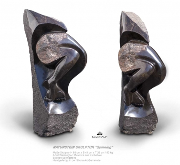 "Stone garden sculpture ""Spinning"" handmade in Zimbabwe (H 68 cm, 53 kg, Springstone dark brown)."