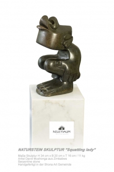 "Shona Art stone sculpture ""Talk too much"" handmade in Zimbabwe. Serpentin Stein."