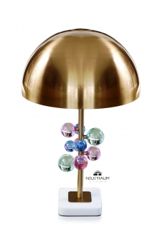 Mushroom crystal bubble table desk light with white marble plinth. High Quality. H 60 cm x ø 35 cm.