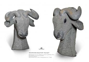 Huge Bull sculpture hand carved from one pieces of springstone. Height 77 cm. ≈ 150 kg!