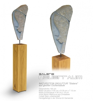 "Large stone sculpture ""Sisters"" based on an oiled german oak column. Total height 165 cm. Opal Stone."