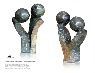 "Handmade Shona Art stone sculpture ""Togetherness"" by Artist William Wilberforce . H 62 cm. 36 kg."