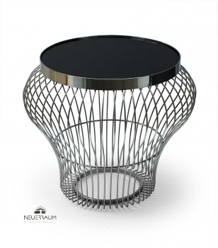 Bauhaus coffee side table living room table made in stainless steel with tempered black glass.