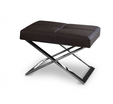 Polished stainless steel bauhaus ottoman with real dark brown leather.