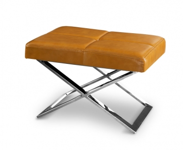 Polished stainless steel bauhaus ottoman with real tan brown leather.