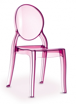 Pink Acrylic Ghost chair Elizabeth made of polycarbonate, it seems to be real glass!