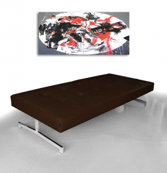 Museum leather bench, Bauhaus daybed. Illustration in real leather dark brown.