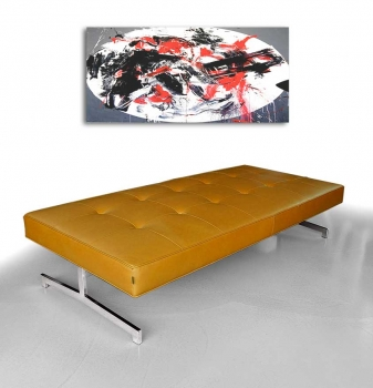 Museum leather bench, Bauhaus daybed. Illustration in real leather tan brown.