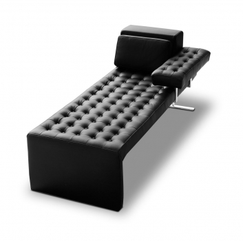 Leather Daybed with armrest Récamière black leather.