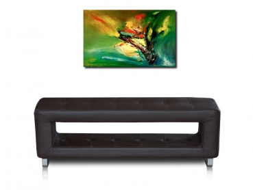 Thin storage leather bench. Illustration in real leather dark brown.