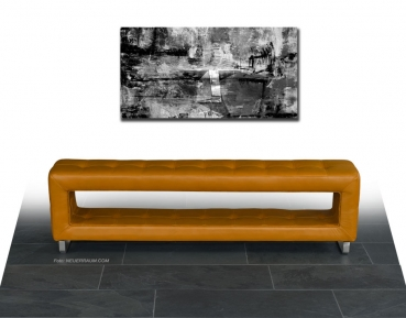 Slim thin leather storage seating bench. Depth just 30 cm. Illustration leather tan brown.
