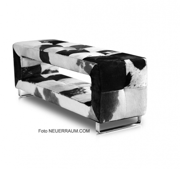 Small cow skin leather bench. Depth just 30 cm. Illustration in black white.