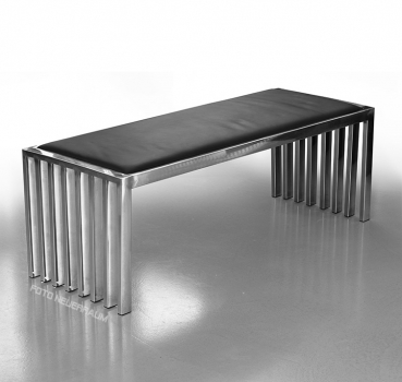 Amazing steel seating bench with black leather seat area (Length 122 cm).