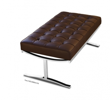Short Bauhaus leather bench with finest leather and polished steel legs. Handmade!